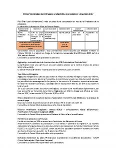 Conseil municipal du 2 janvier 2017