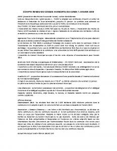 Conseil municipal du lundi 7 janvier 2019