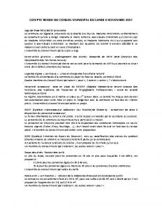 Conseil municipal du 6 novembre 2017
