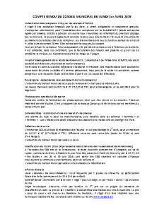 Conseil municipal du lundi 1er avril 2019