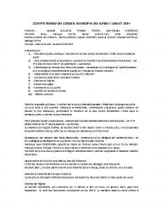 Conseil du 7 juillet 2014