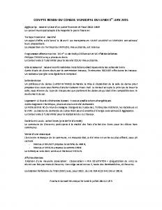Conseil municipal du 1er juin 2015