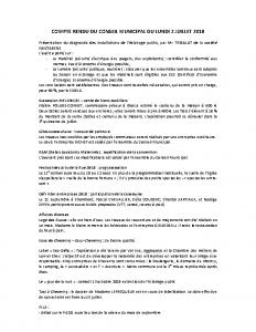 Conseil municipal du 2 juillet 2018