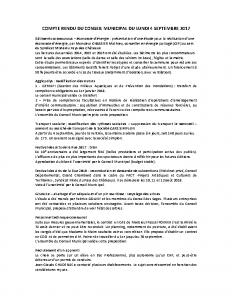 Conseil municipal du 4 septembre 2017