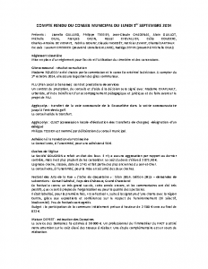 Conseil municipal du 1er septembre 2014