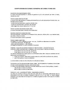 Conseil municipal du 2 mars 2015