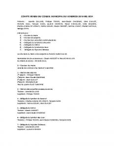Conseil municipal du 28 mars