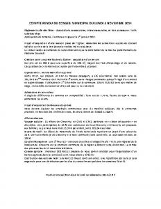 Conseil municipal du 3 novembre 2014