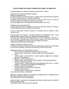 Conseil municipal du 3 octobre 2016