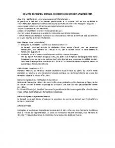 Conseil municipal du 5 janvier 2015