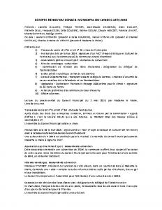 Conseil municipal du 6 juin 2016