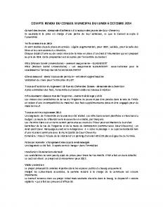 Conseil municipal du 6 octobre 2014