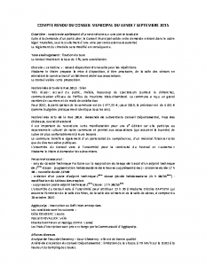 Conseil municipal du 7 septembre 2015