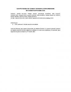 Cconseil municipal extraordinaire du 9 septembre 2014
