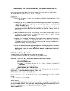 Conseil municipal nr du 5 septembre 2016