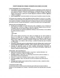 Conseil Municipal du Lundi 6 Mai 2019