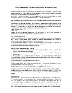 Conseil Municipal du Lundi 3 Juin 2019