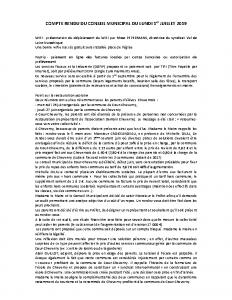 Conseil Municipal du Lundi 1er Juillet 2019