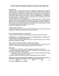 Conseil Municipal du Lundi 2 Septembre 2019