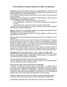 Conseil Municipal du Lundi 7 Octobre 2019