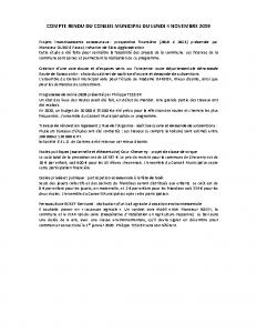 Conseil Municipal du Lundi 4 Novembre 2019