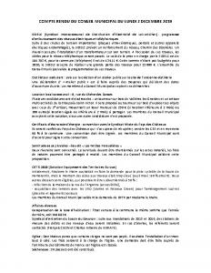 Conseil Municipal du Lundi 2 Décembre 2019