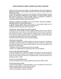 Conseil Municipal du Lundi 2 Mars 2020