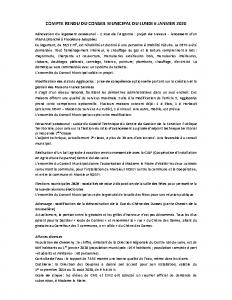 Conseil Municipal du Lundi 6 Janvier 2020