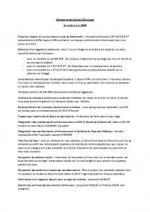 Conseil Municipal du Lundi 8 Juin 2020